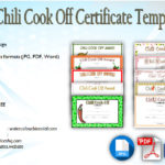 Chili Cook Off Certificate Templates Free