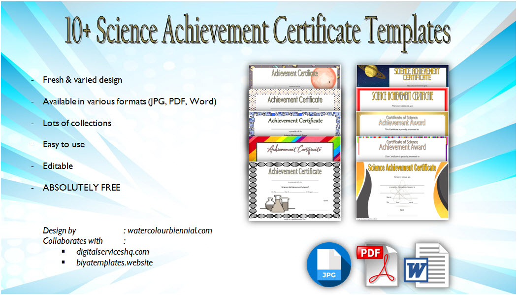 Download science achievement certificate template, award, science fair certificates of participation pdf, word, exhibition, stem, robotics, 1st place, winner, printable, editable free