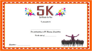 Download 5k race certificate template, participation, marathon, winner, printable running certificates, finisher, fun run, running achievement free!
