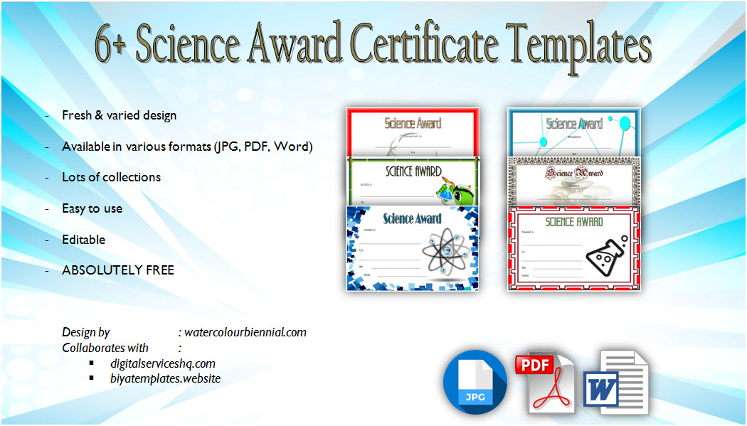 editable science certificates, achievement award for students, science certificate template word, robotics, participation pdf, science fair, customizable, appreciation, free download