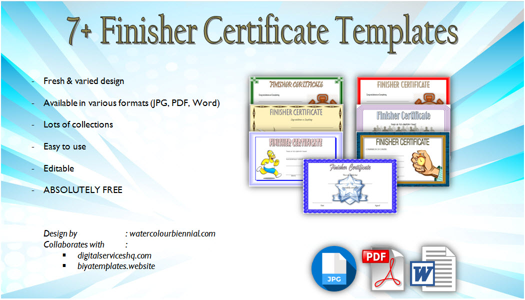 Download Finisher Certificate Templates, marathon, printable, completion, running award, participation, fun run template editable, pdf, word for free!