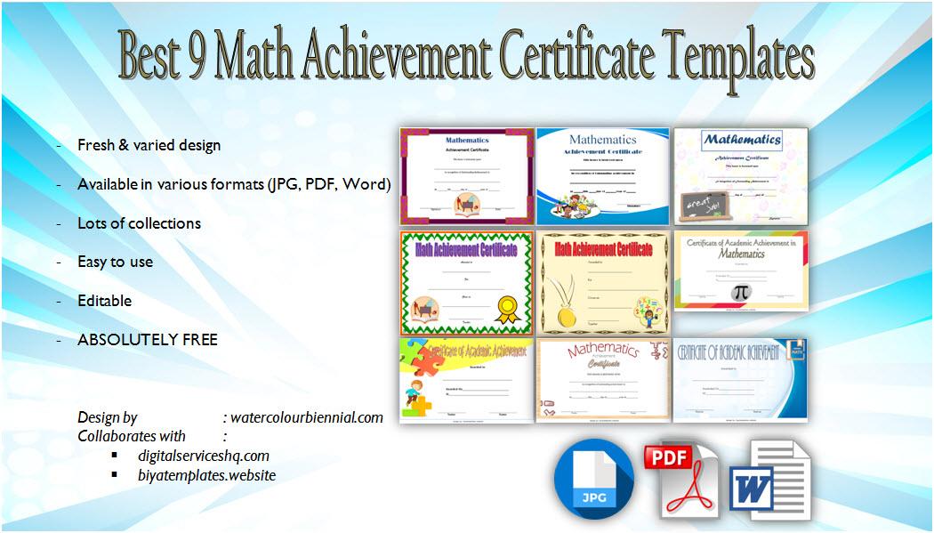 Download math achievement certificate template, mathematics excellence award, pdf, doc, printable, editable maths certificates templates for free