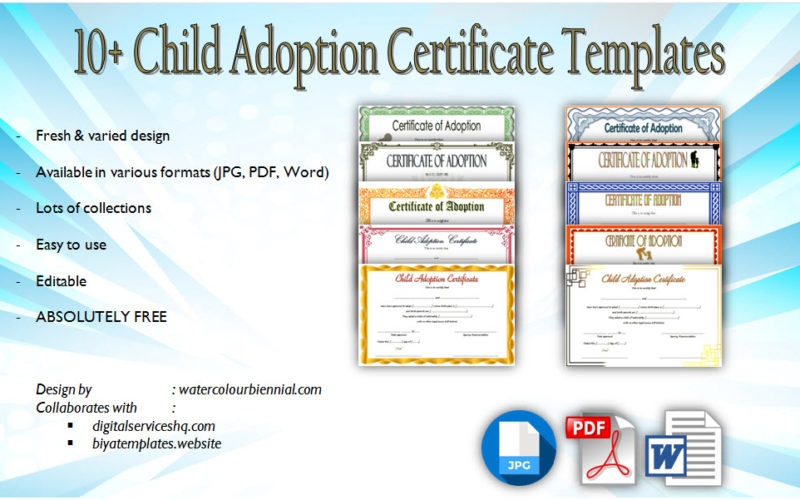 Download 10+ best designs of Child Adoption Certificate Template Editable free. Blank certificates, printable, fillable form, word, pdf, uk.