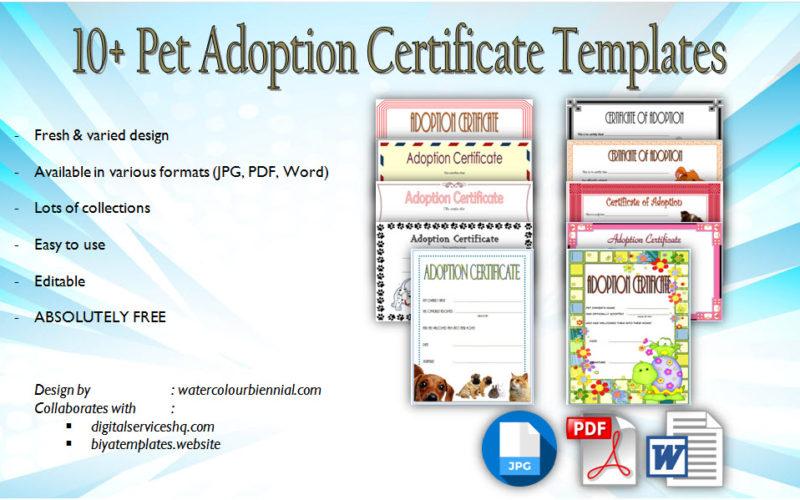 Pet Adoption Certificate Editable Templates free download, microsoft word, pdf, paw patrol, printable, cat, dog, stuffed animal, costumizable.