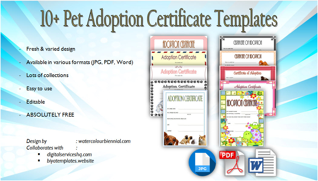 Pet Adoption Certificate Editable Templates free download, microsoft word, pdf, paw patrol, printable, cat, dog, stuffed animal, costumizable.