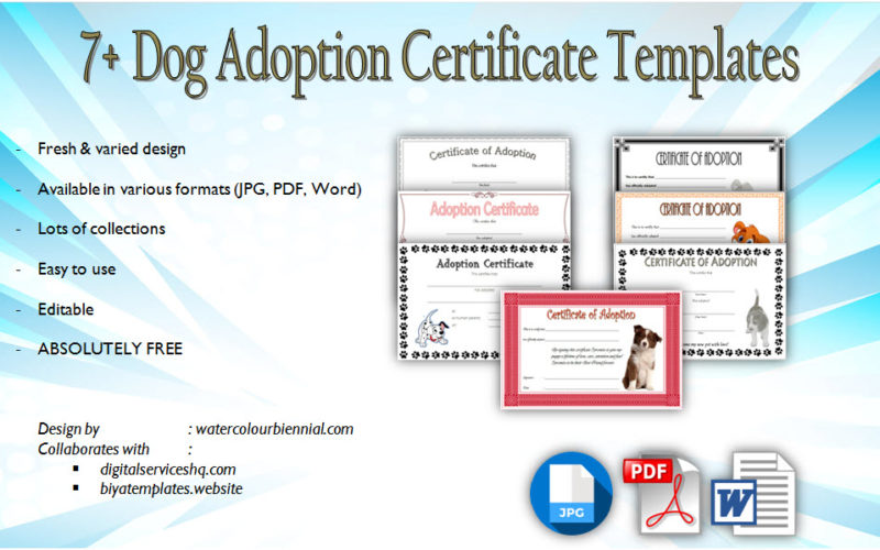 Dog Adoption Certificate Editable Templates free download, puppy, stuffed animal, printable, littlest pet shop, pdf, microsoft word.