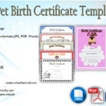 Pet Birth Certificate Templates Fillable