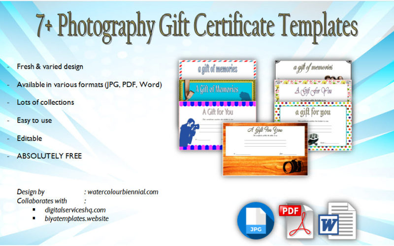 Download 7+ Unique Designs of Photography Gift Certificate Template for free! Photo session, photos, pdf, microsoft word, printable, editable certificates.