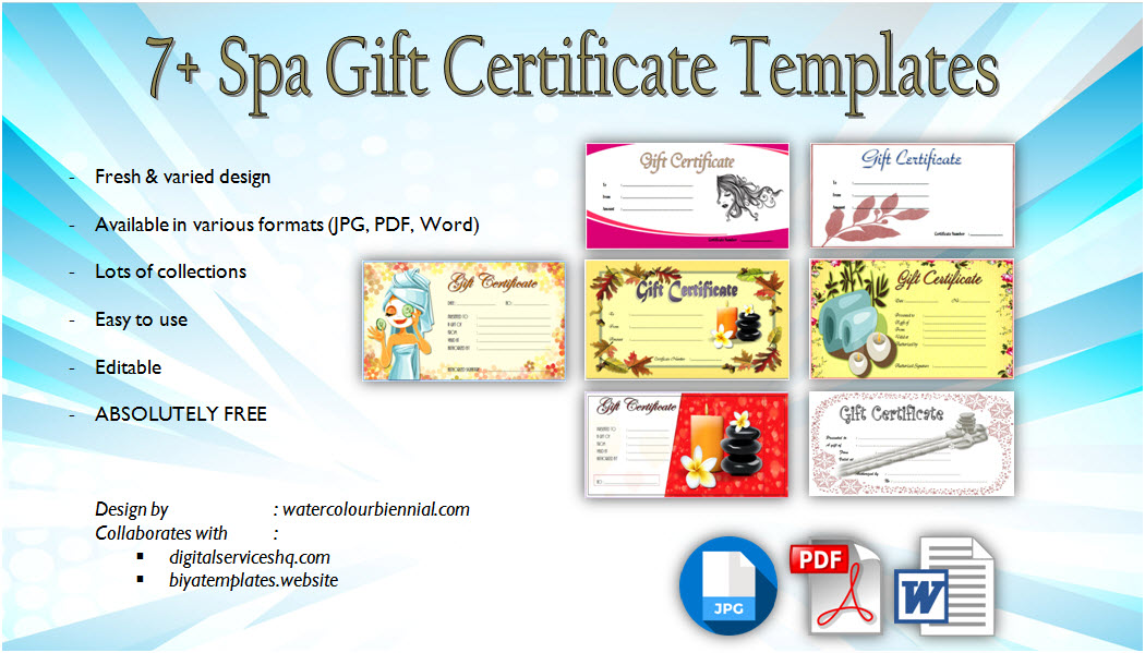 Get 7+ Therapeutic Designs of Spa Gift Certificate Template! Salon, beauty, pedicure, treatment, manicure, massage, blank certificates, pdf, word, free download.