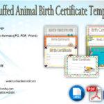 Stuffed Animal Birth Certificate Templates