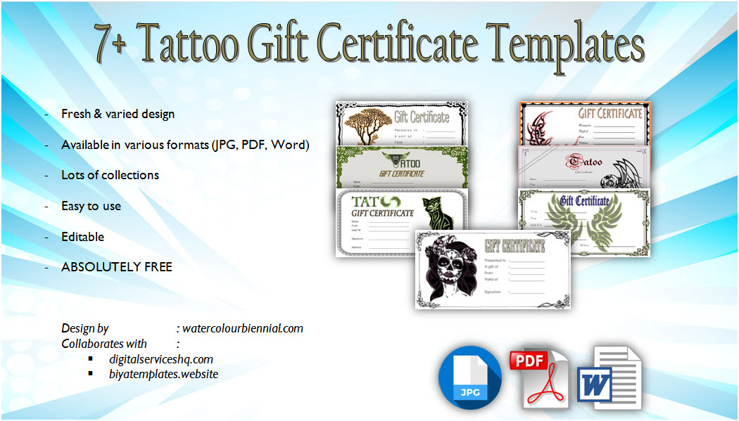 tattoo gift certificate word template