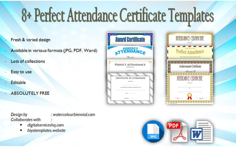 Printable Perfect Attendance Certificate Template 8 Free Download