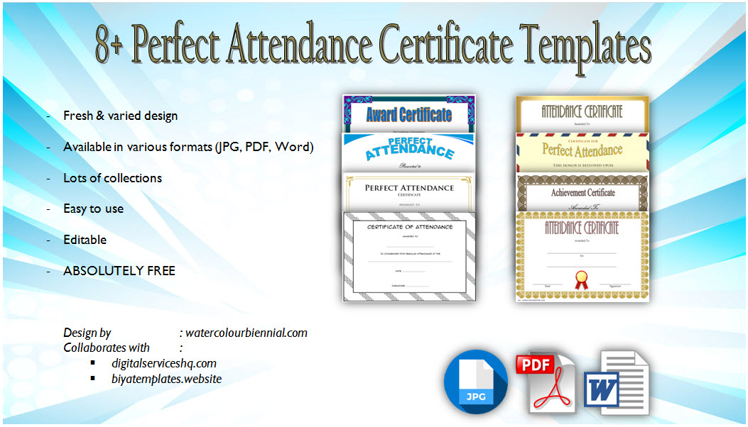 photo regarding Perfect Attendance Certificate Printable identified as 8+ Printable Excellent Attendance Certification Template Strategies