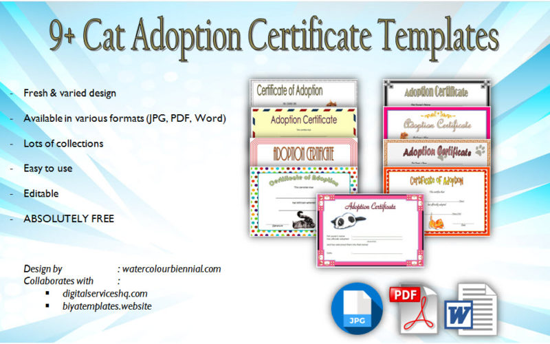 Download 9+ Cat Adoption Certificate Editable Templates free! Pet, kitten, pdf, word, printable, party, stuffed animal, unicorn, teddy bear.