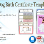 Dog Birth Certificate Template Editable [10 Official Designs]
