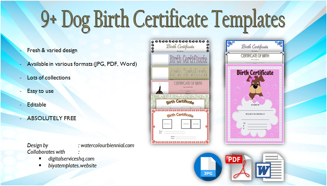 graphic relating to Printable Puppy Birth Certificate referred to as Puppy Beginning Certification Template Editable [9+ Styles Free of charge]