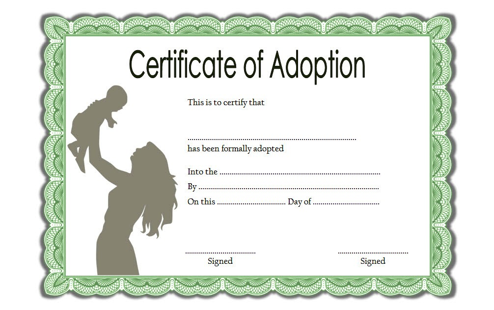 picture about Free Printable Adoption Certificate known as Little one Adoption Certification Template Editable [10+ Great Models]