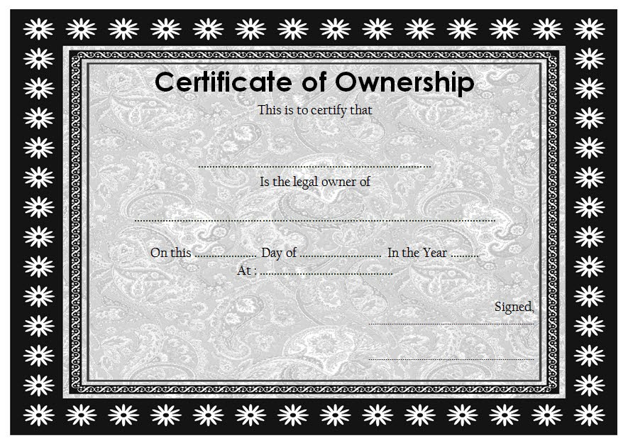 ownership certificate templates editable  10  official