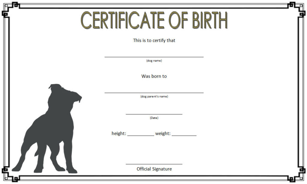 dog birth certificate template editable  9  official