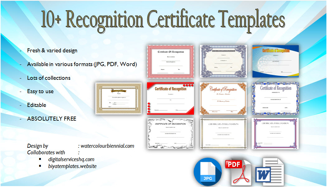 10+ Downloadable Certificate of Recognition Templates free printable for an Appreciation, award, staff, employee, sales, graduation with many formats.