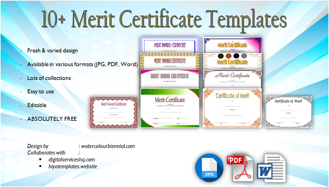 Download 10+ Certificate of Merit Templates with blank editable format for an achievement award, school students, and recognition free.