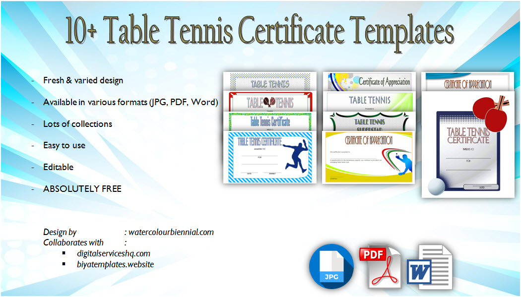 Download 10+ Table Tennis Certificate Templates Editable for winner, tournament, ping pong award, champion, player of the match with free pdf and word format!