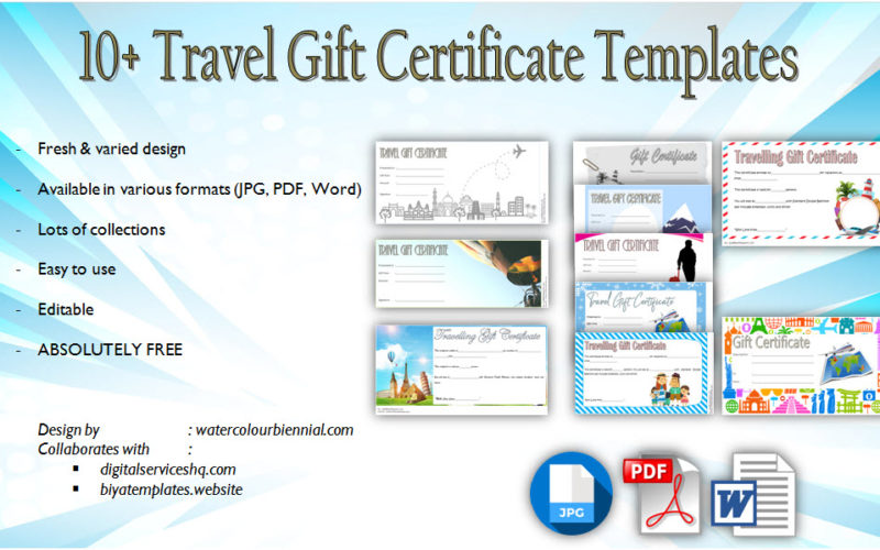 Download 10+ free download of Travel Gift Certificate Editable for holiday, christmas, birthday, honeymoon with the best and latest design!
