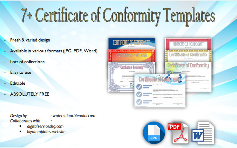 7+ Certificate of Conformity Templates or COC for CE, general, test, compliance, quality, declaration, origin free download!