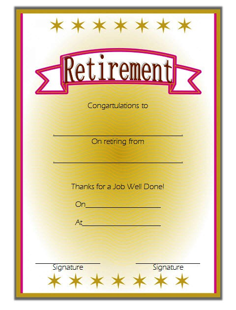 retirement certificate templates  10  official designs