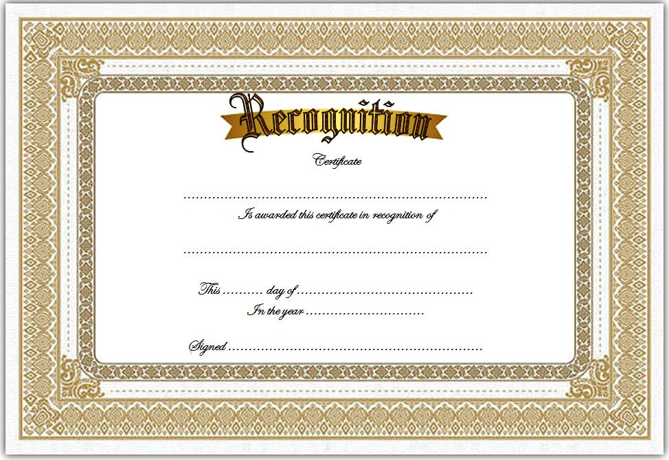 10  Downloadable Certificate Of Recognition Templates Free