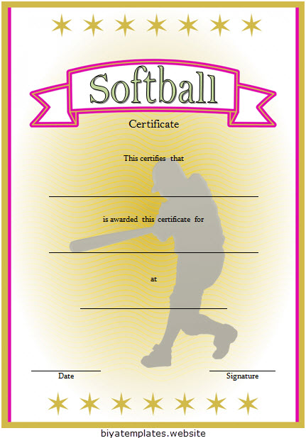 image relating to Free Printable Sports Certificates known as Printable Softball Certification Templates [10+ Perfect Options Cost-free]