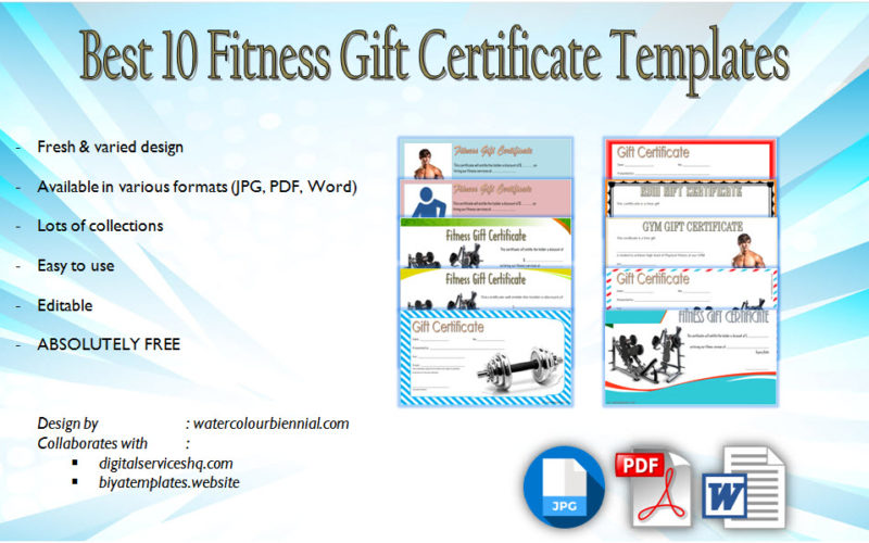 Download 10+ Editable Fitness Gift Certificate Templates free for a gym, first, anytime, center as a voucher for the members.