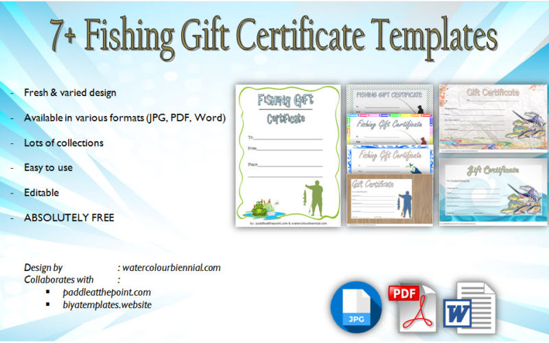 Download 7+ Fishing Gift Certificate Editable Templates for a trip, guide, deep sea, happy holidays, travel, father's day free!