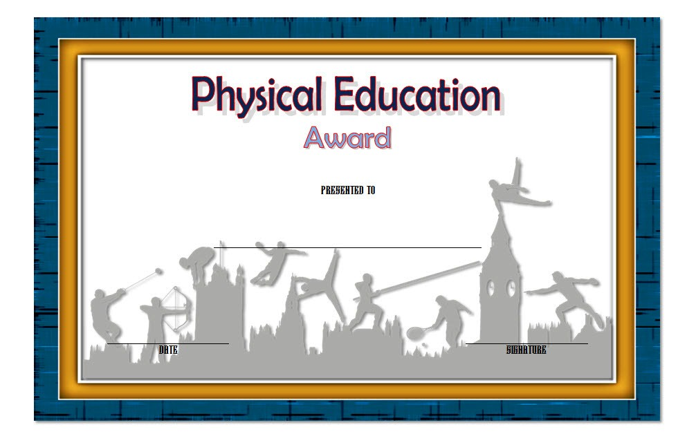 Physical Education Certificate Template Editable [8+ Free ...