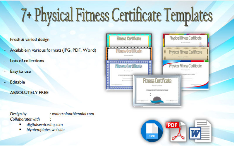 7+ Fresh Designs of Physical Fitness Certificate Template Printable for job, student, driving license, school admission free download.