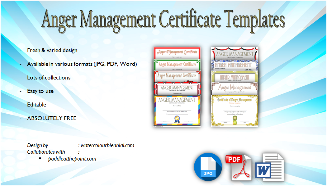 anger management certificate template  10  amazing designs