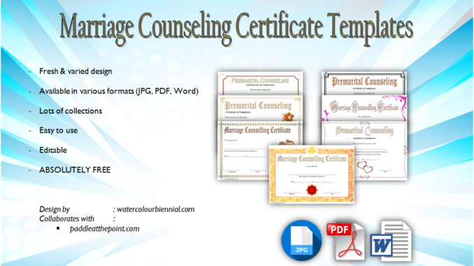 marriage counseling certificate template, marriage counseling certificate of completion, free marriage counseling certificate of completion template, free printable marriage counseling certificate, pre marriage counseling certificate template free, premarital course completion certificate
