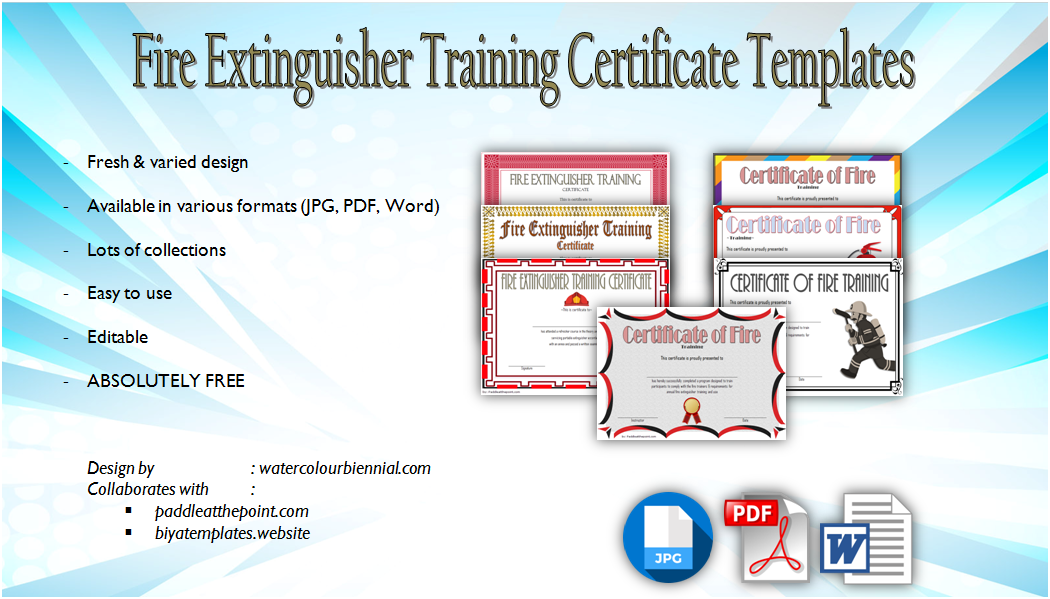 Fire Extinguisher Training Certificate Template Free [7+