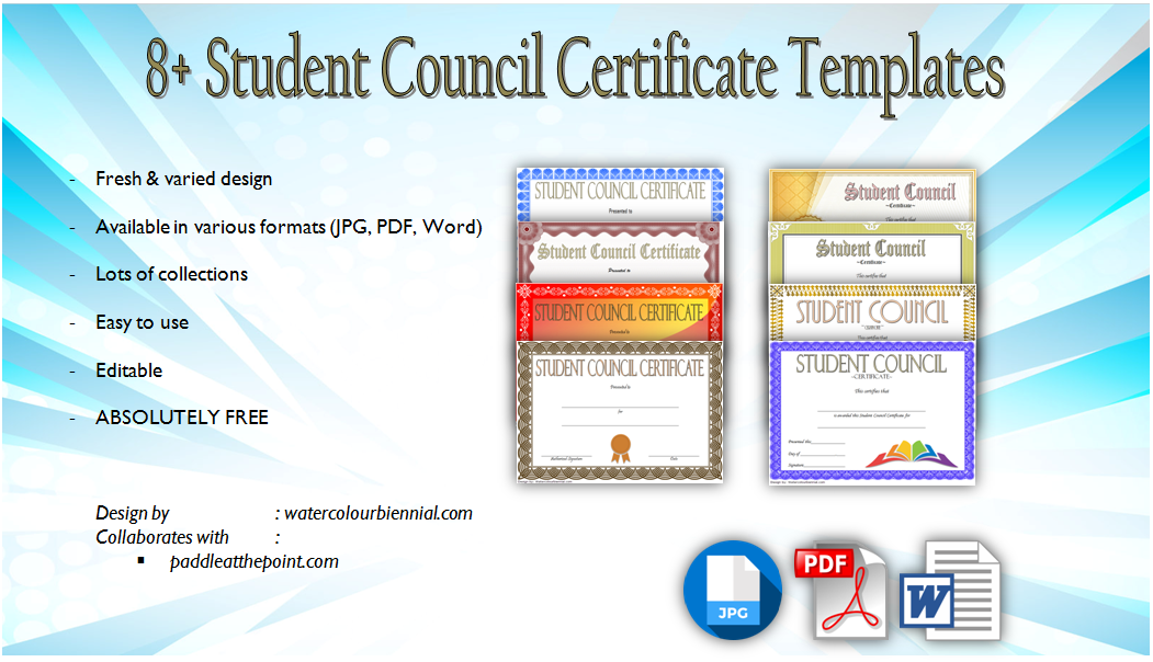 student council certificate template  8  new designs free